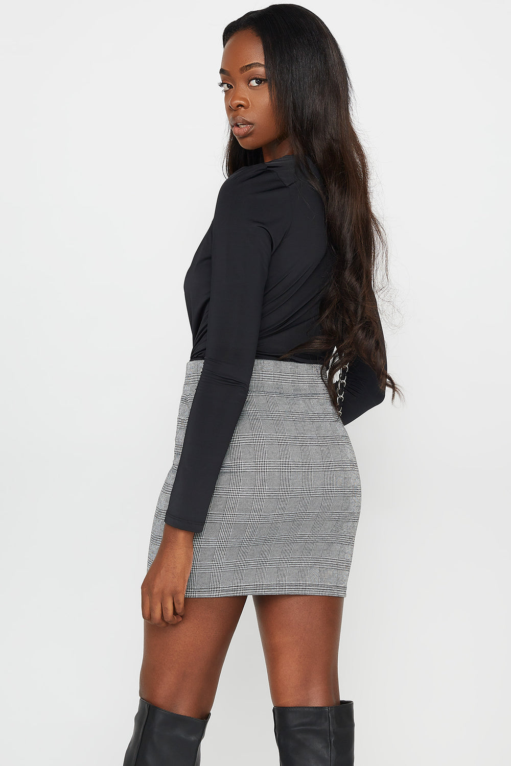 Printed Zip-Up Mini Skirt HEATHER GREY