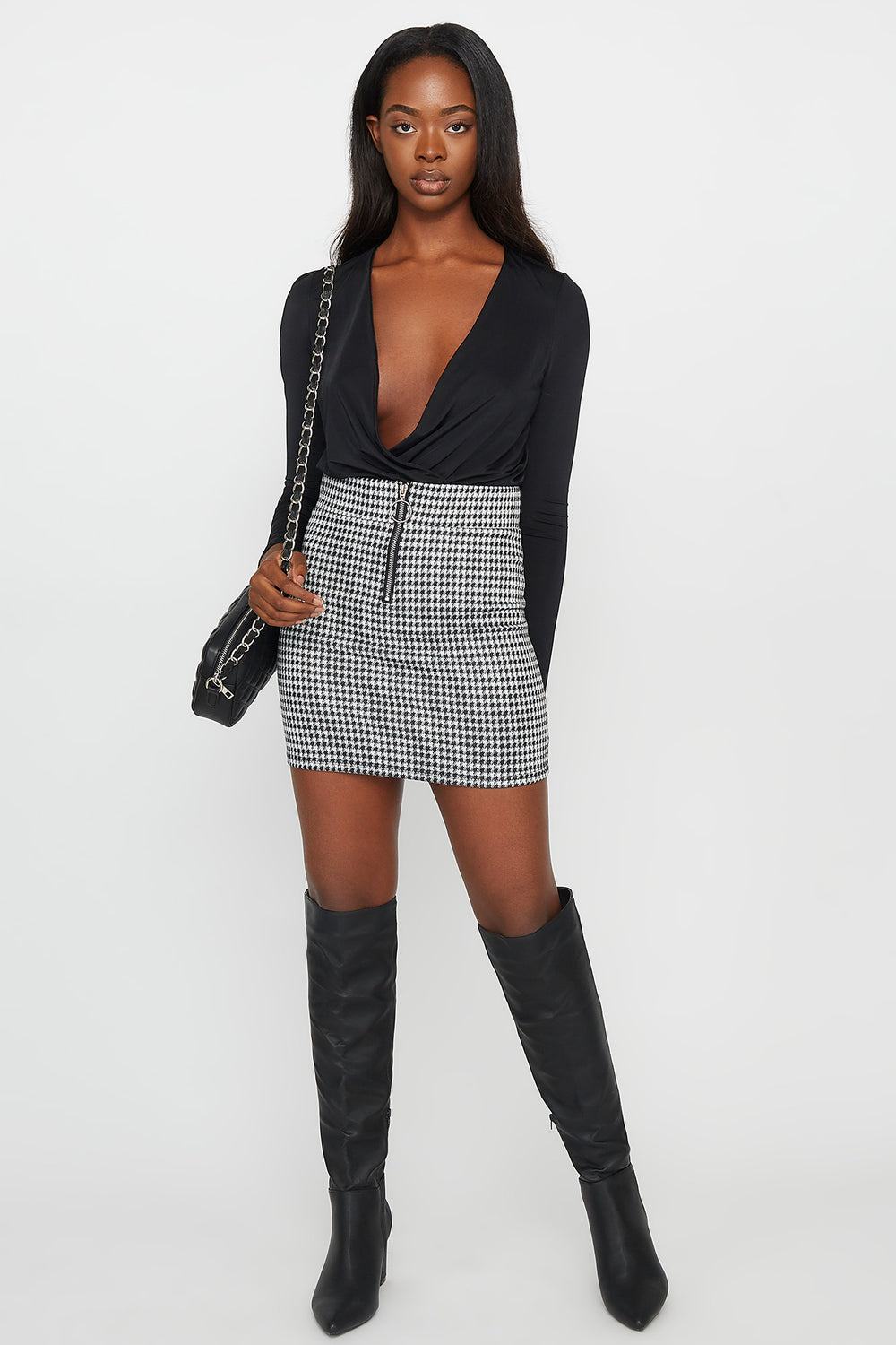 Printed Zip-Up Mini Skirt Black with White