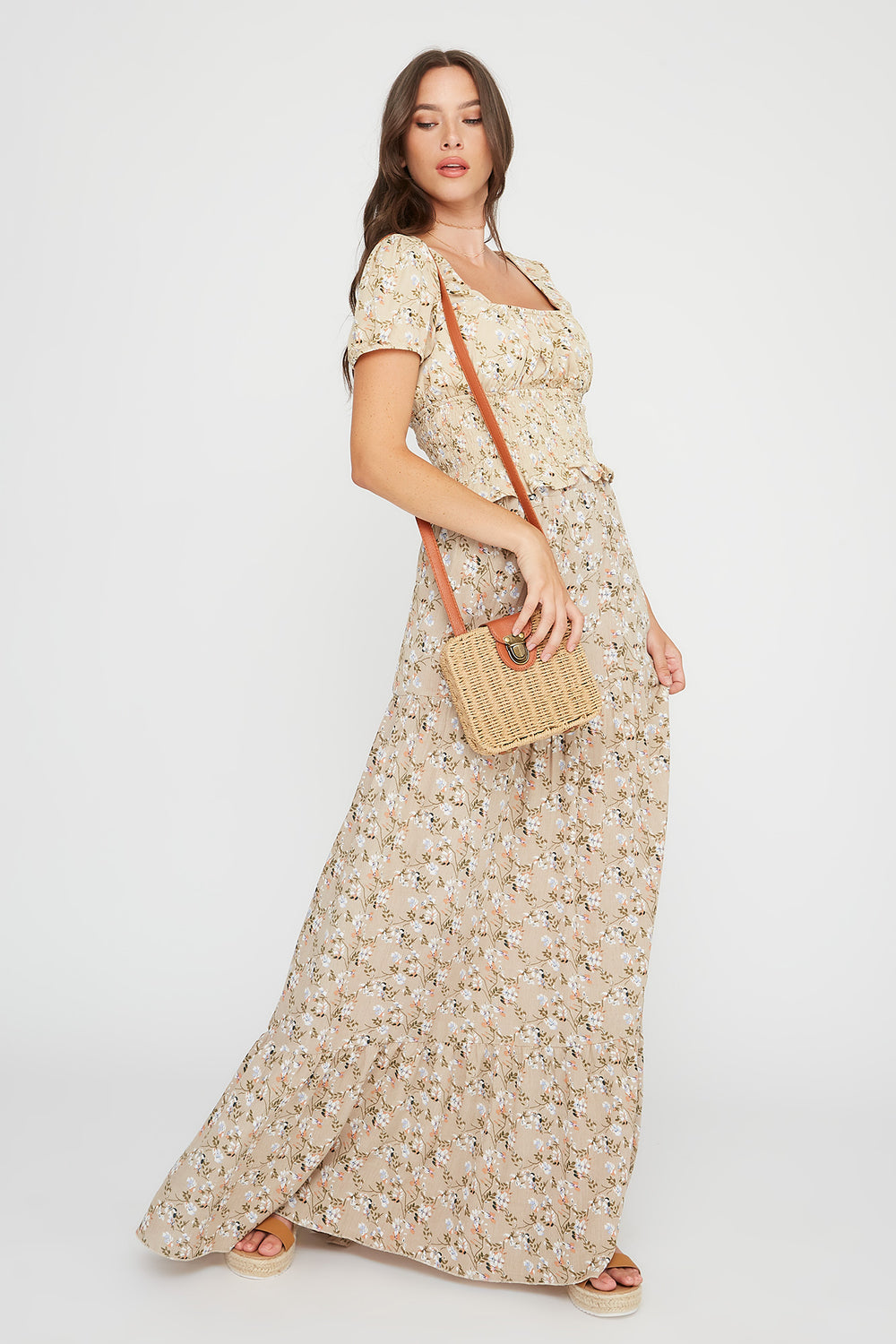 Printed 3-Tier Maxi Skirt Multi