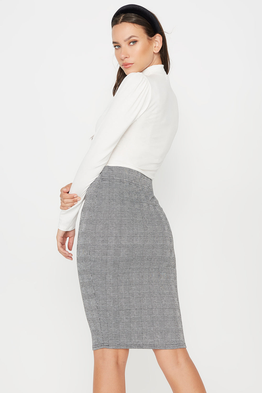 Pull-On Bodycon Midi Skirt Heather Grey