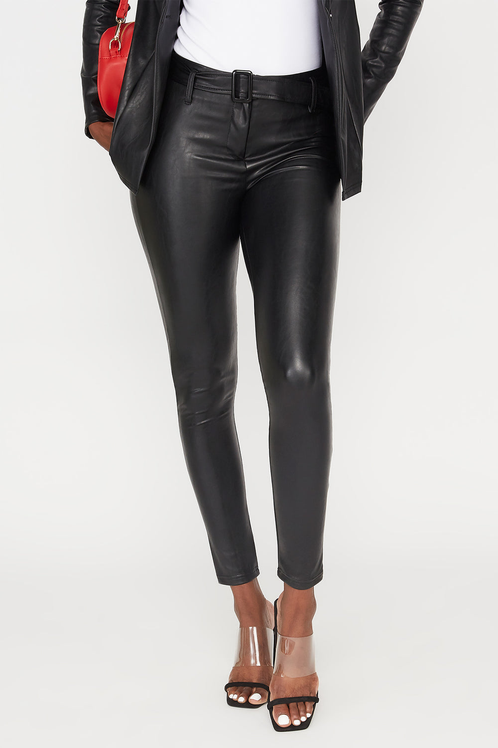Faux-Leather Belted Legging Black