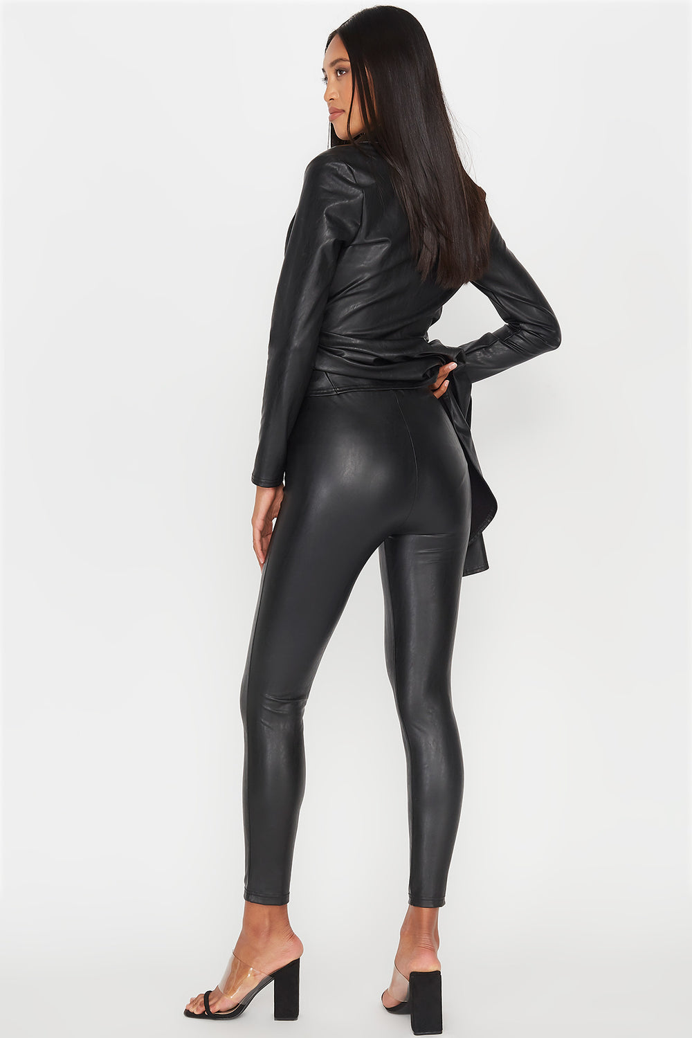 Faux-Leather High-Rise Pull-On Legging Black