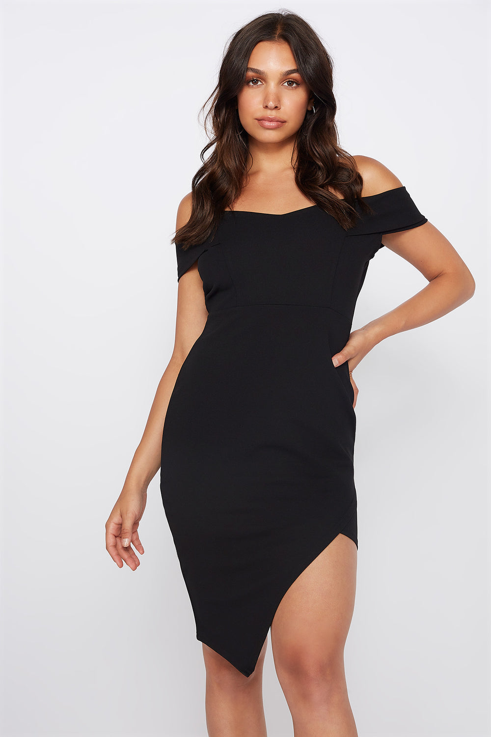 Off The Shoulder Asymmetrical Hem Mini Dress Black