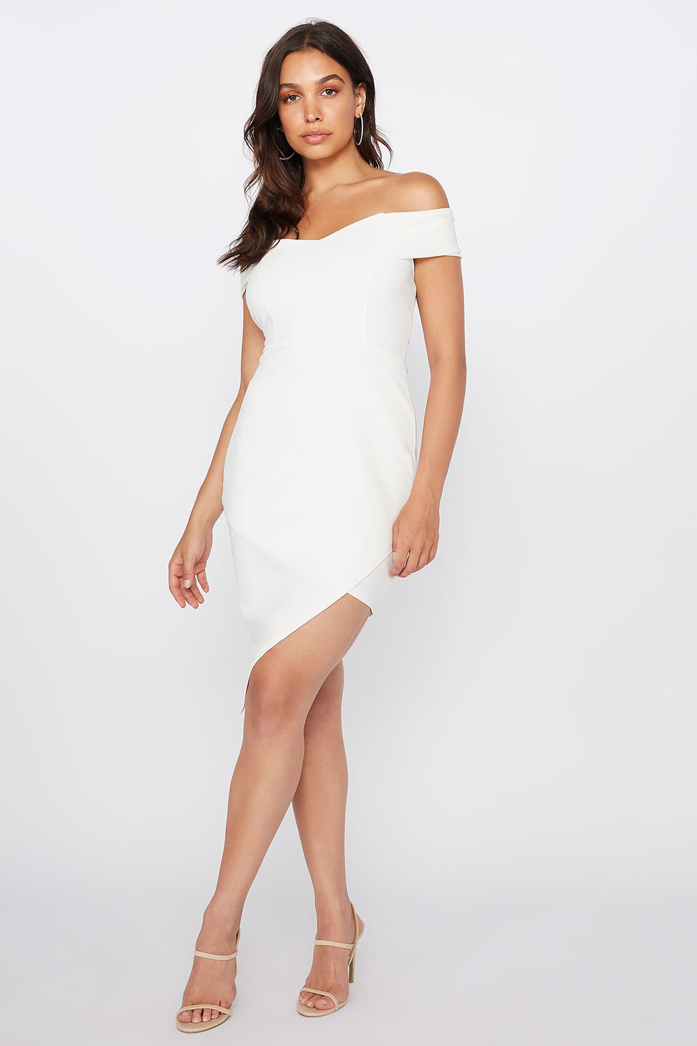 Off The Shoulder Asymmetrical Hem Mini Dress Ivory