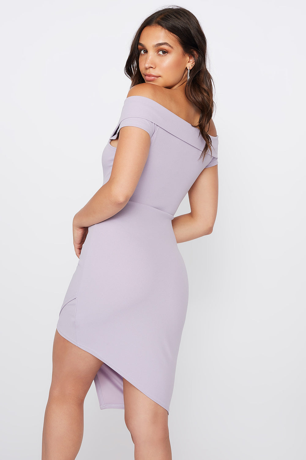 Off The Shoulder Asymmetrical Hem Mini Dress Lilac