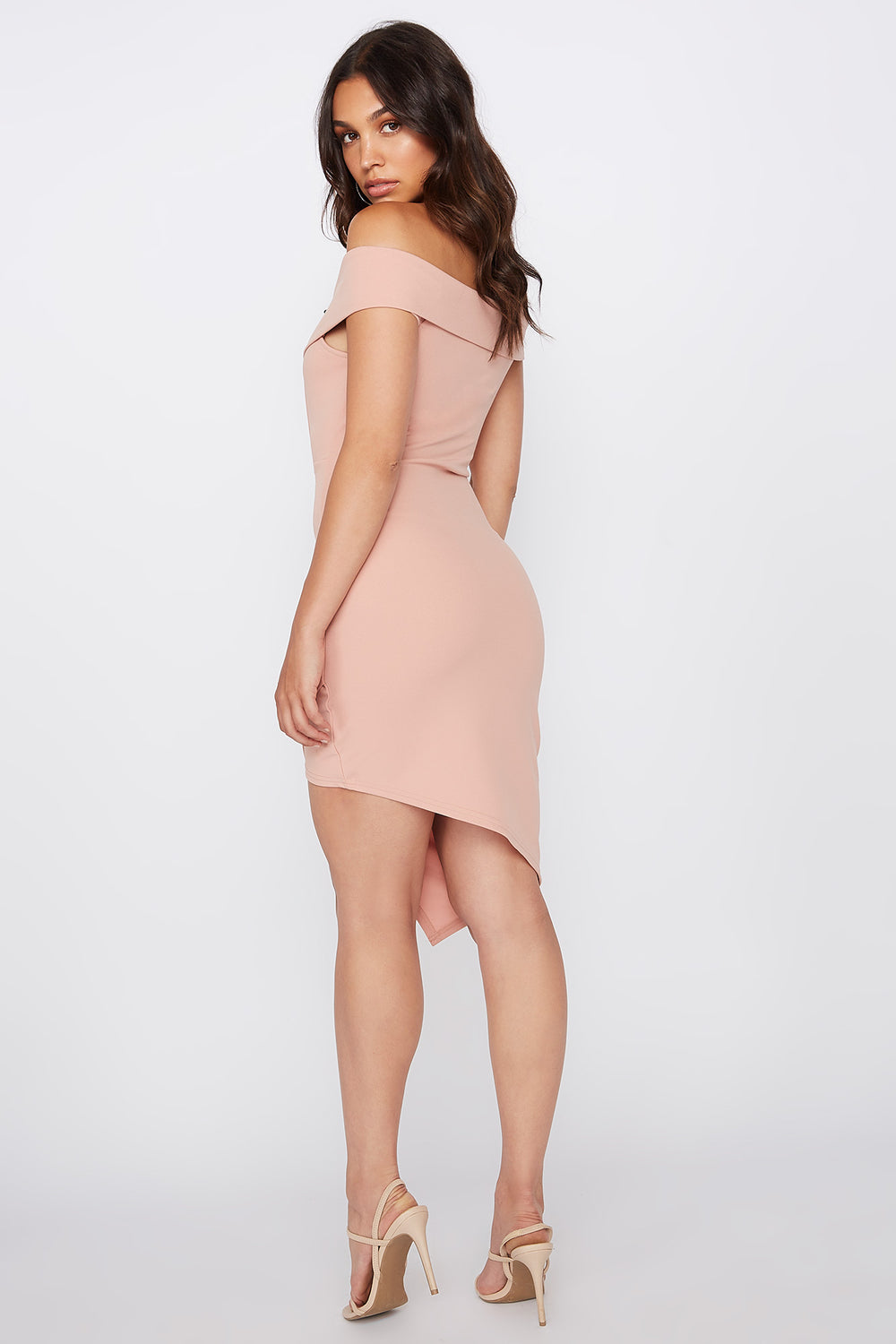 Off The Shoulder Asymmetrical Hem Mini Dress Dusty Rose