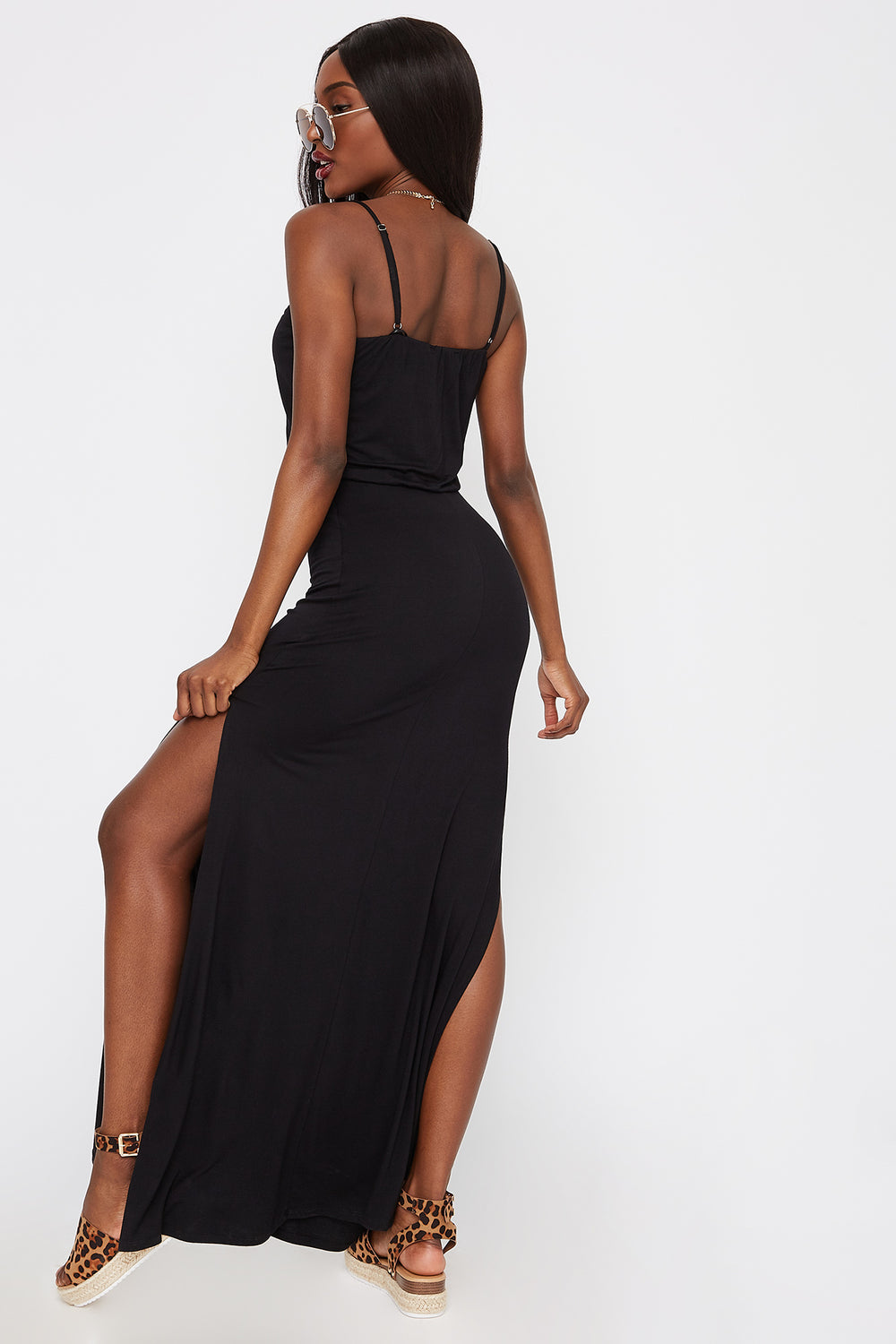 Scoop Neck Slit Maxi Dress Black