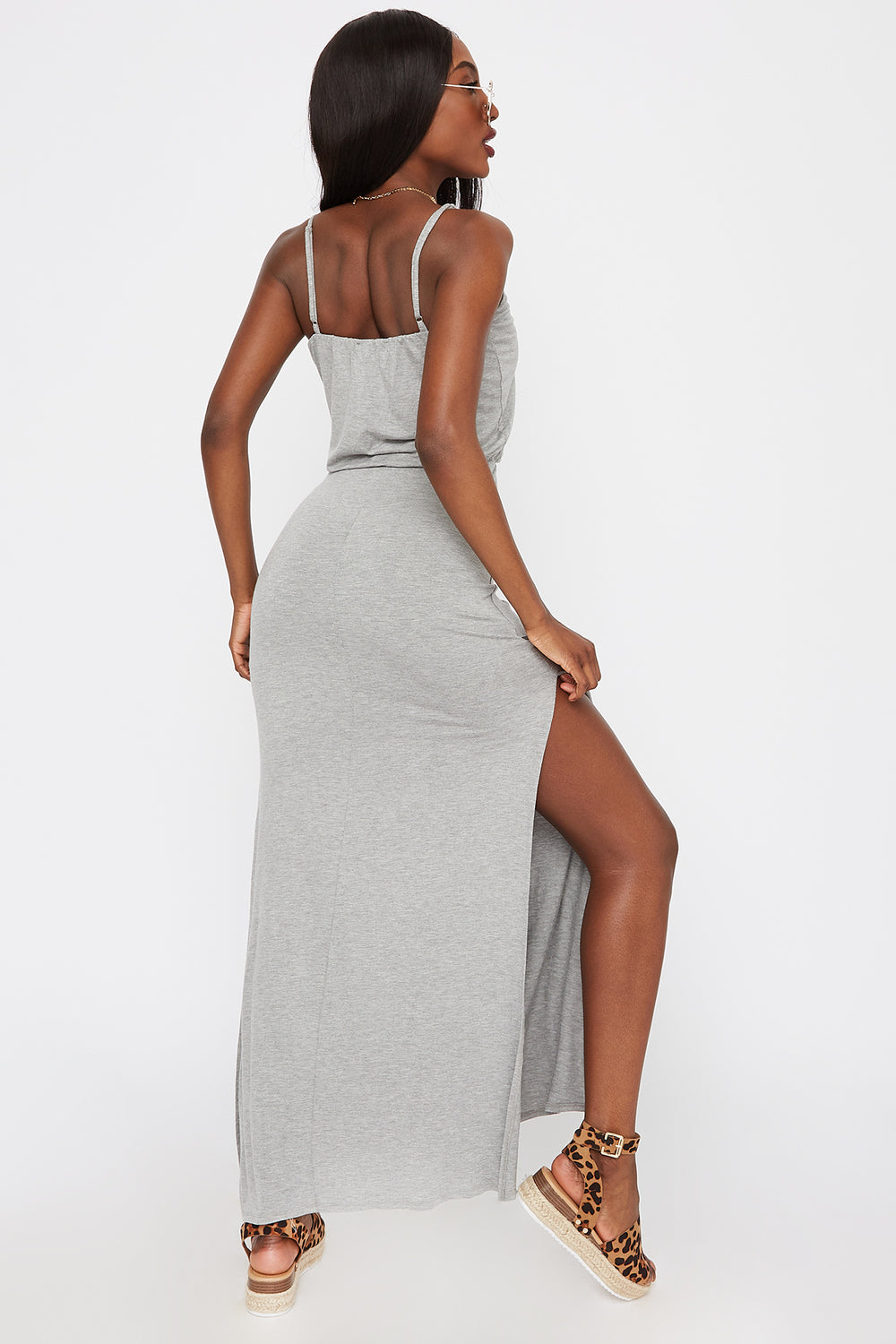 Scoop Neck Slit Maxi Dress Heather Grey