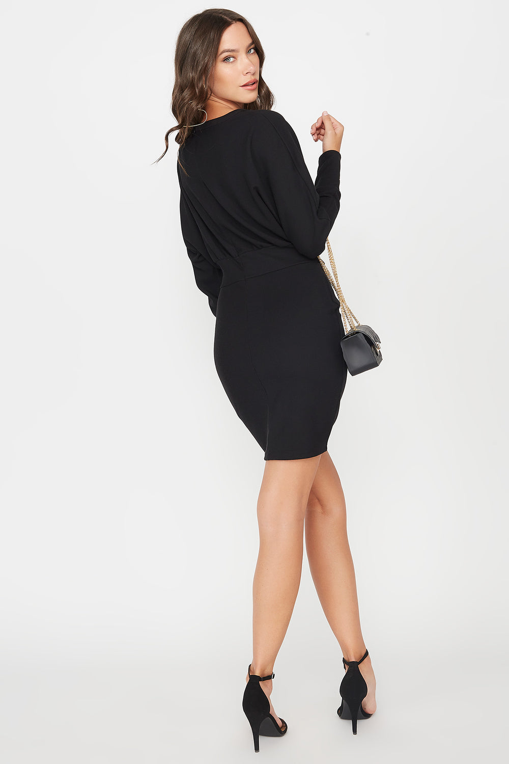 Scoop Neck Self Tie Dolman Long Sleeve Dress Black