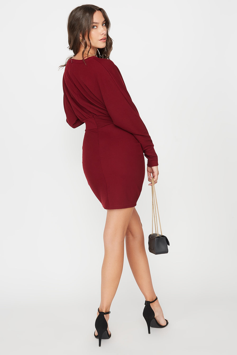 Scoop Neck Self Tie Dolman Long Sleeve Dress Burgundy