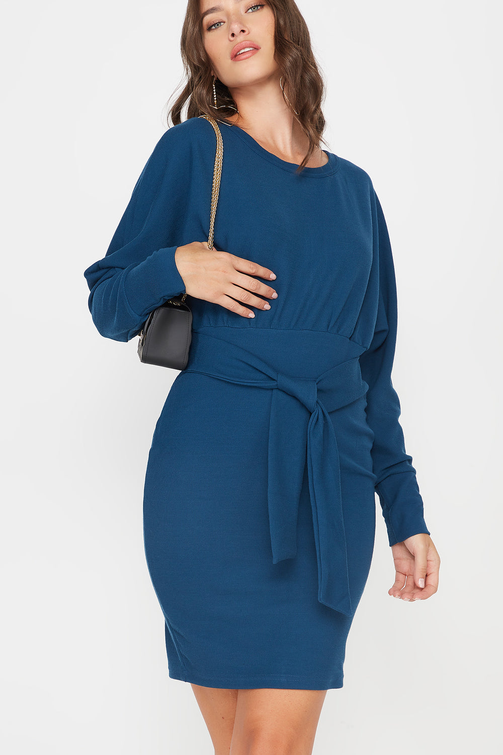 Scoop Neck Self Tie Dolman Long Sleeve Dress Teal