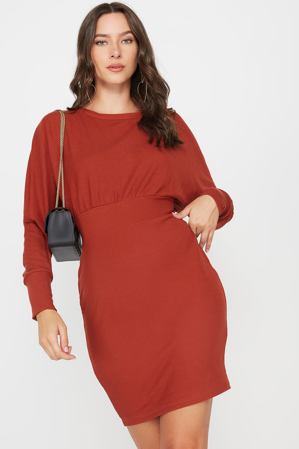 Scoop Neck Self Tie Dolman Long Sleeve Dress Rust