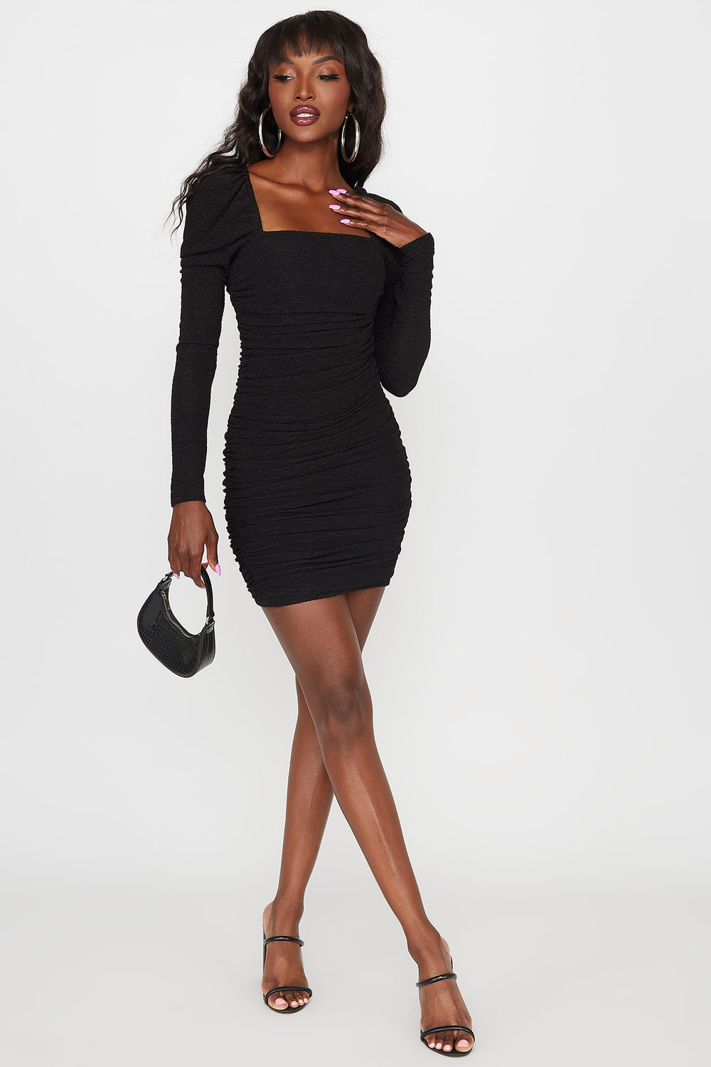 Square Neck Ruched Puff Sleeve Mini Dress Black