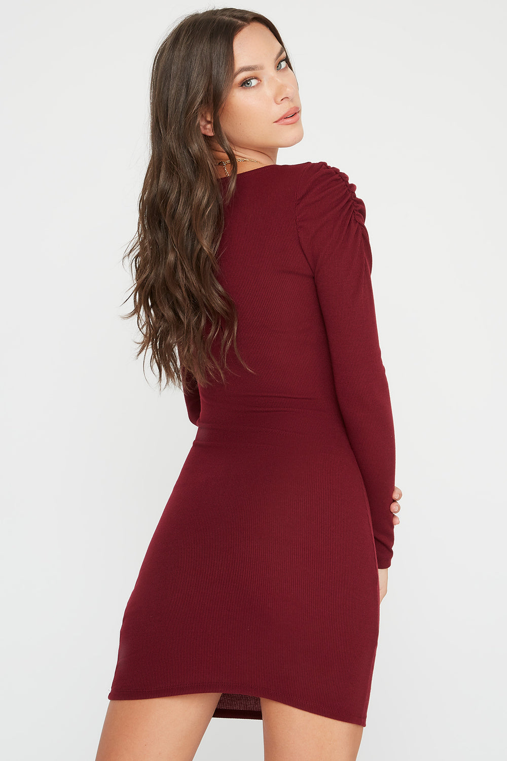 Ribbed Puff Sleeve Square Neck Mini Dress Wine