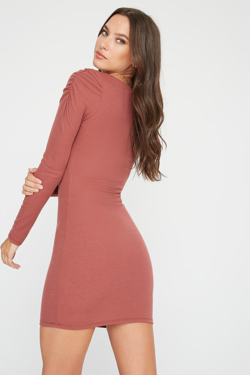 Ribbed Puff Sleeve Square Neck Mini Dress Dark Pink