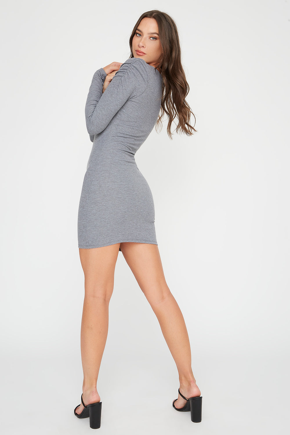 Ribbed Puff Sleeve Square Neck Mini Dress Heather Grey