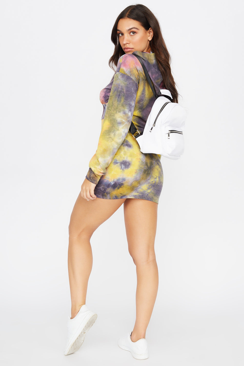 French Terry Tie-Dye Corset Hooded Dress Lilac