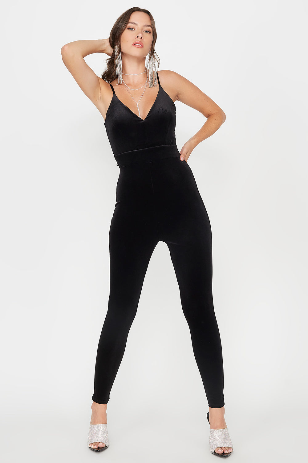 Velvet V-Neck Lace Back Jumpsuit Black