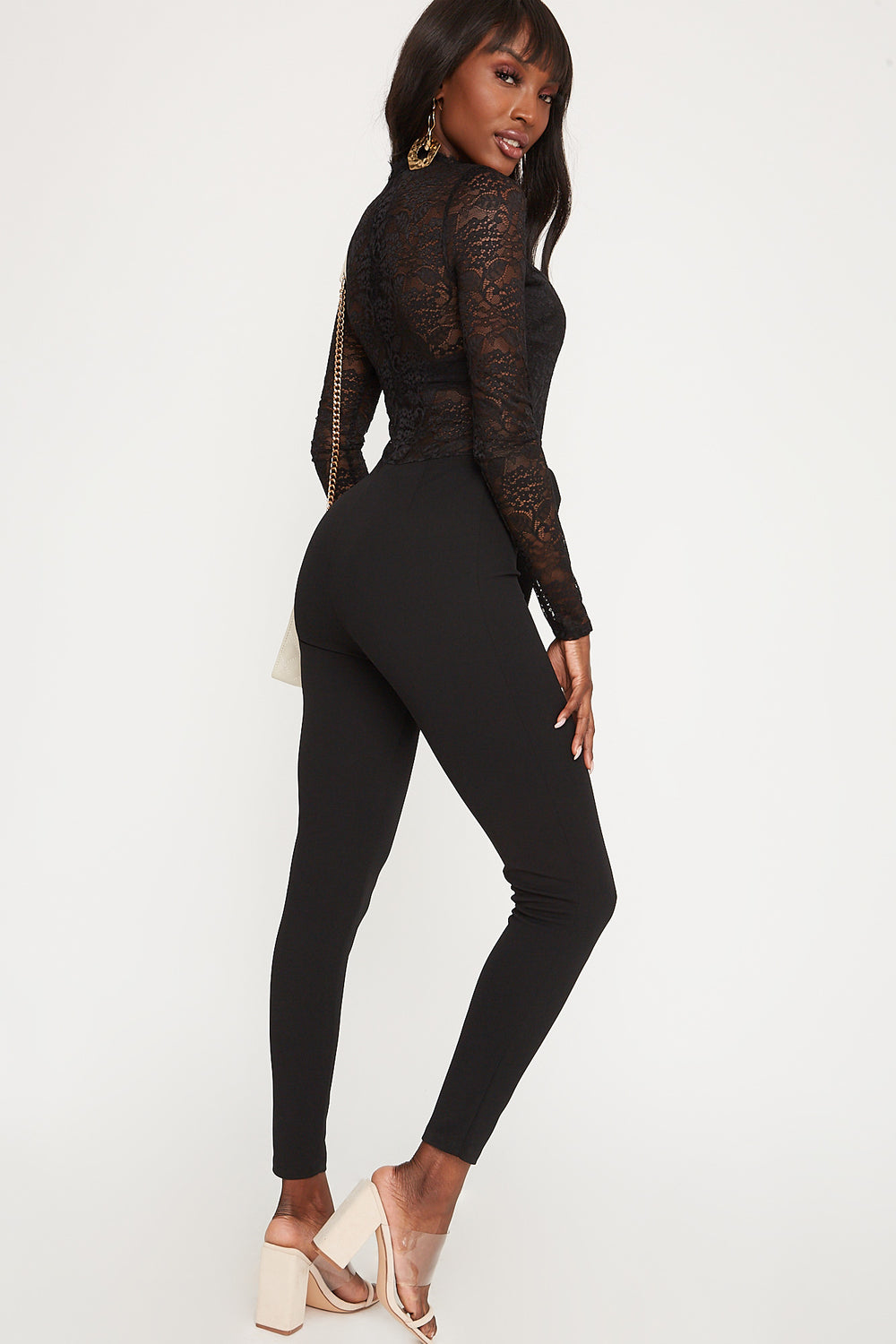Lace Mock Neck Belted Long Sleeve Jumpsuit Black