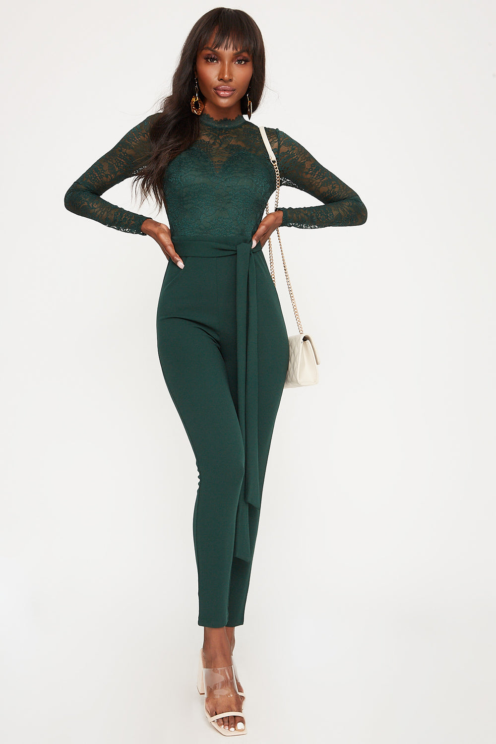Lace Mock Neck Belted Long Sleeve Jumpsuit Hunter Green