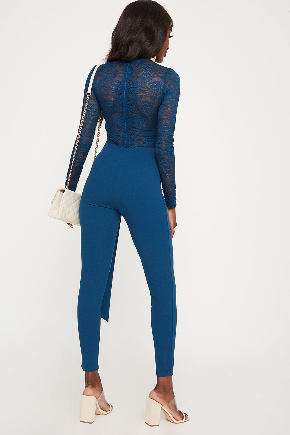 Lace Mock Neck Belted Long Sleeve Jumpsuit Navy