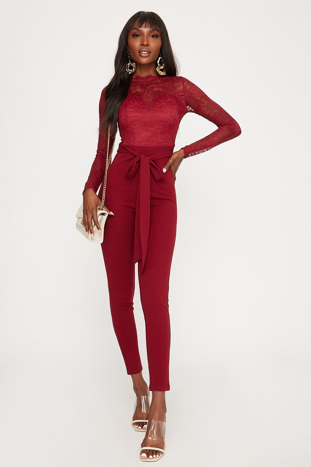 Lace Mock Neck Belted Long Sleeve Jumpsuit Burgundy