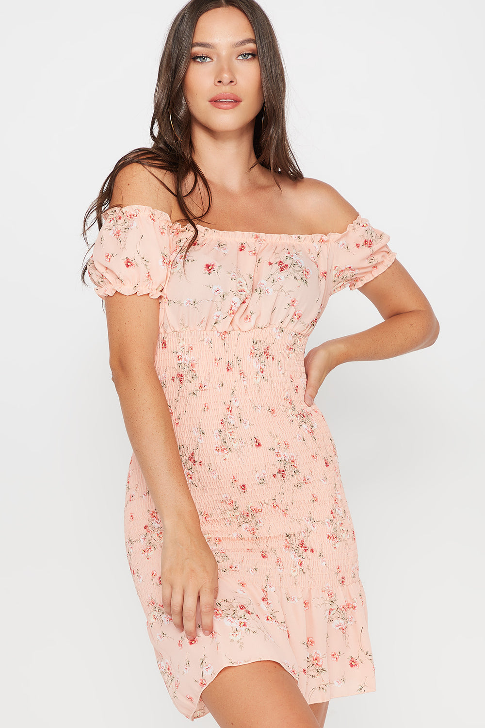 Floral Smocked Off The Shoulder Ruffle Short Sleeve Mini Dress Coral