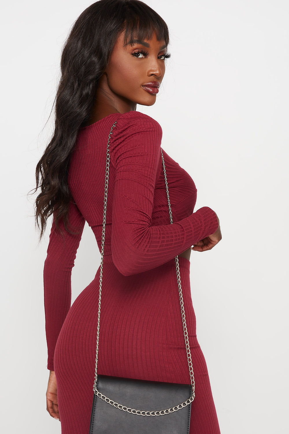 Ribbed V-Neck Front Knot Long Sleeve Cropped Top Burgundy
