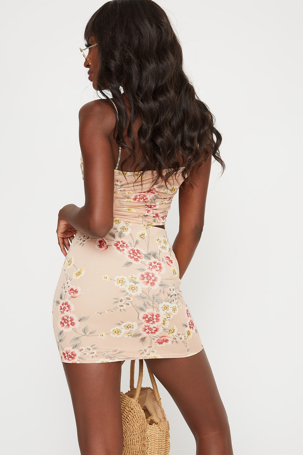 Floral Mesh Mini Skirt Peach