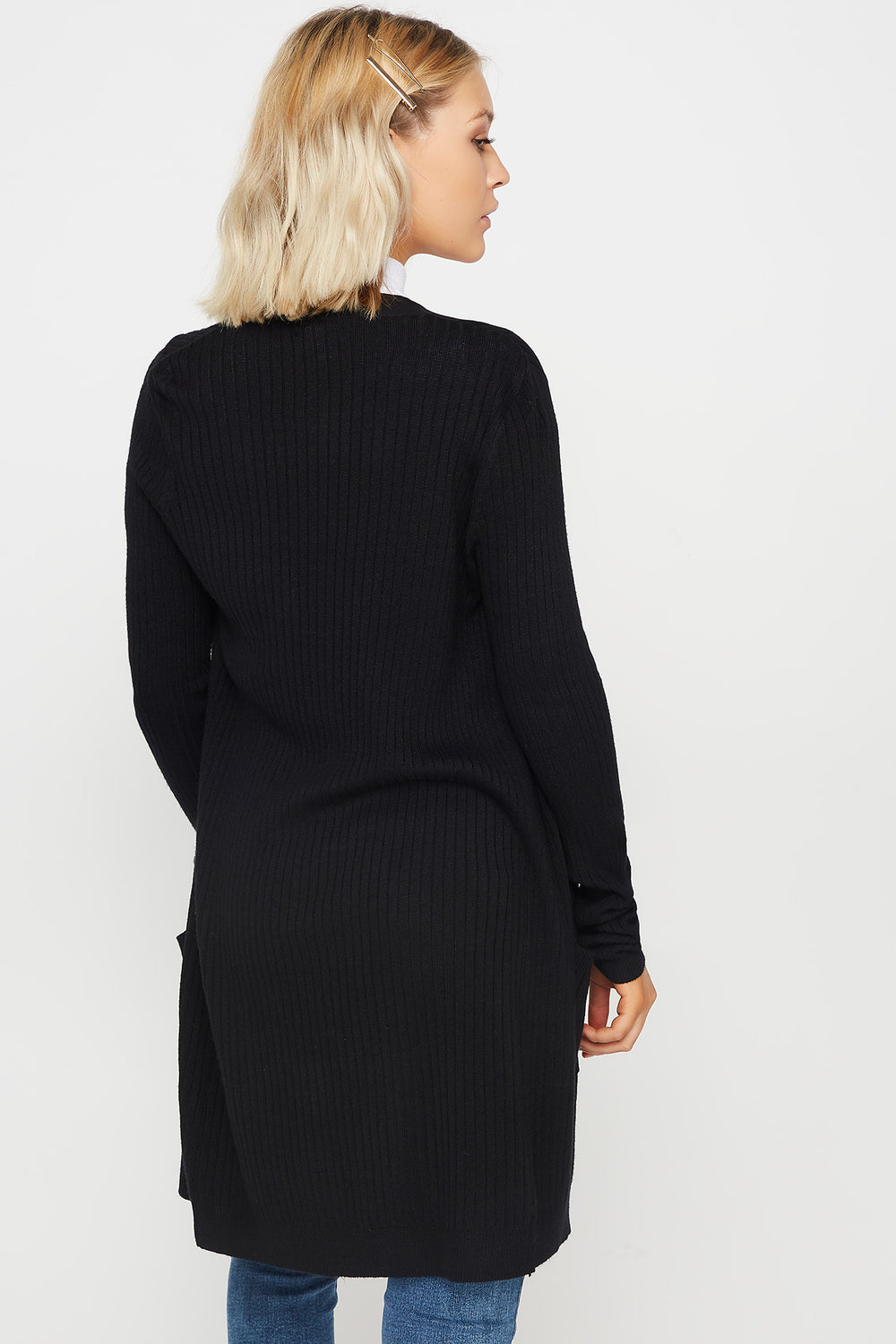 Ribbed Open-Front Pocket Cardigan Black