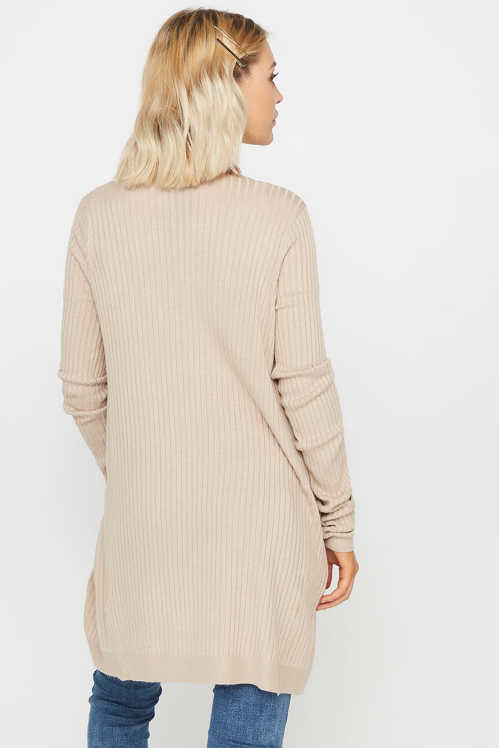 Ribbed Open-Front Pocket Cardigan Beige