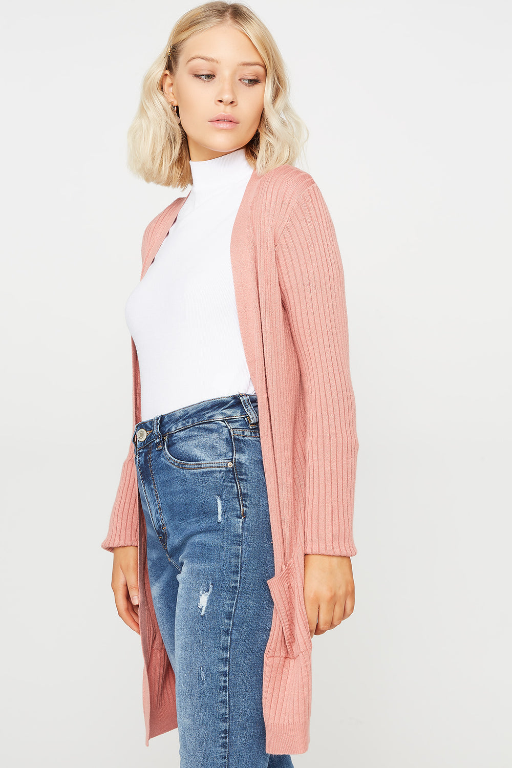 Ribbed Open-Front Pocket Cardigan Mauve