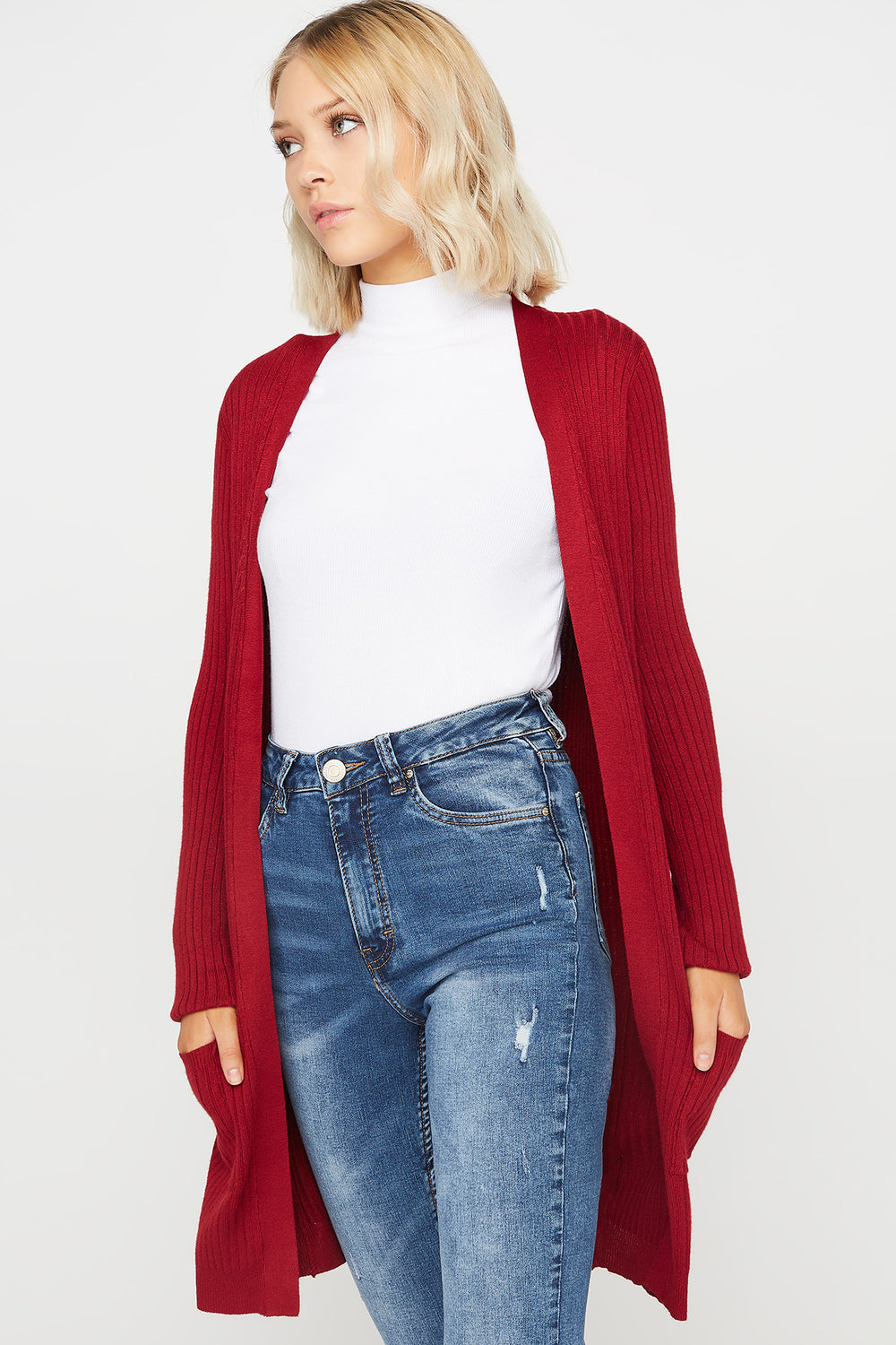 Ribbed Open-Front Pocket Cardigan Wine