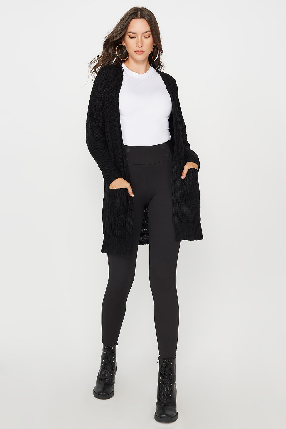 Knit Open Front Pocket Cardigan Black