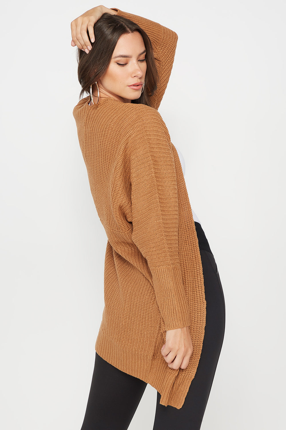 Knit Open Front Pocket Cardigan Tan