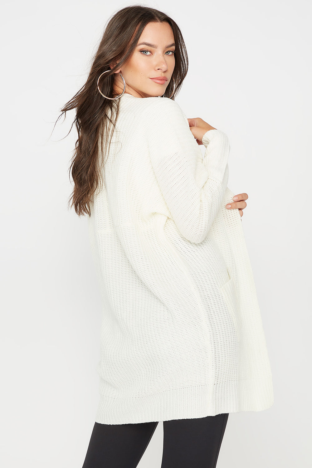 Knit Open Front Pocket Cardigan Ivory