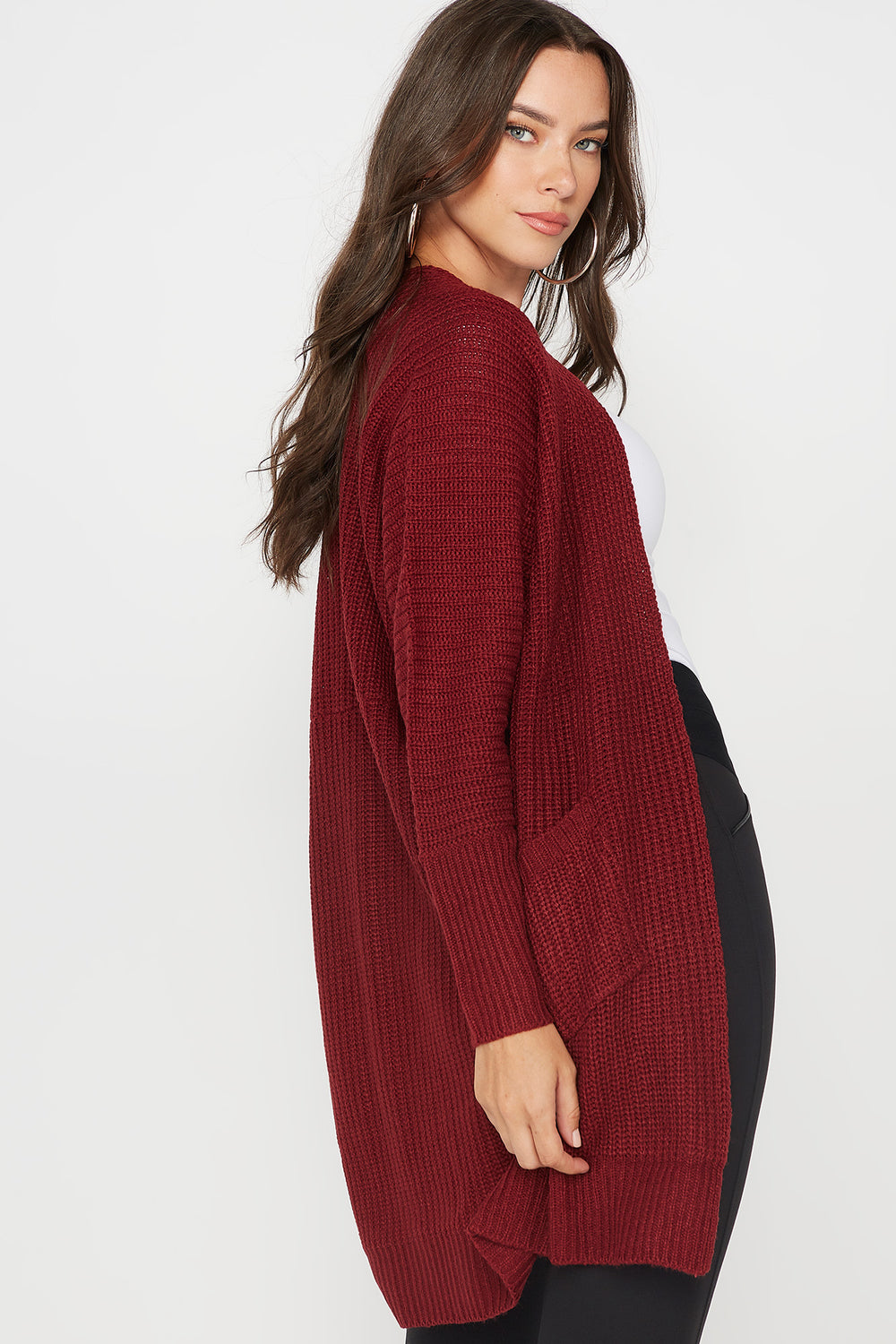 Knit Open Front Pocket Cardigan Burgundy