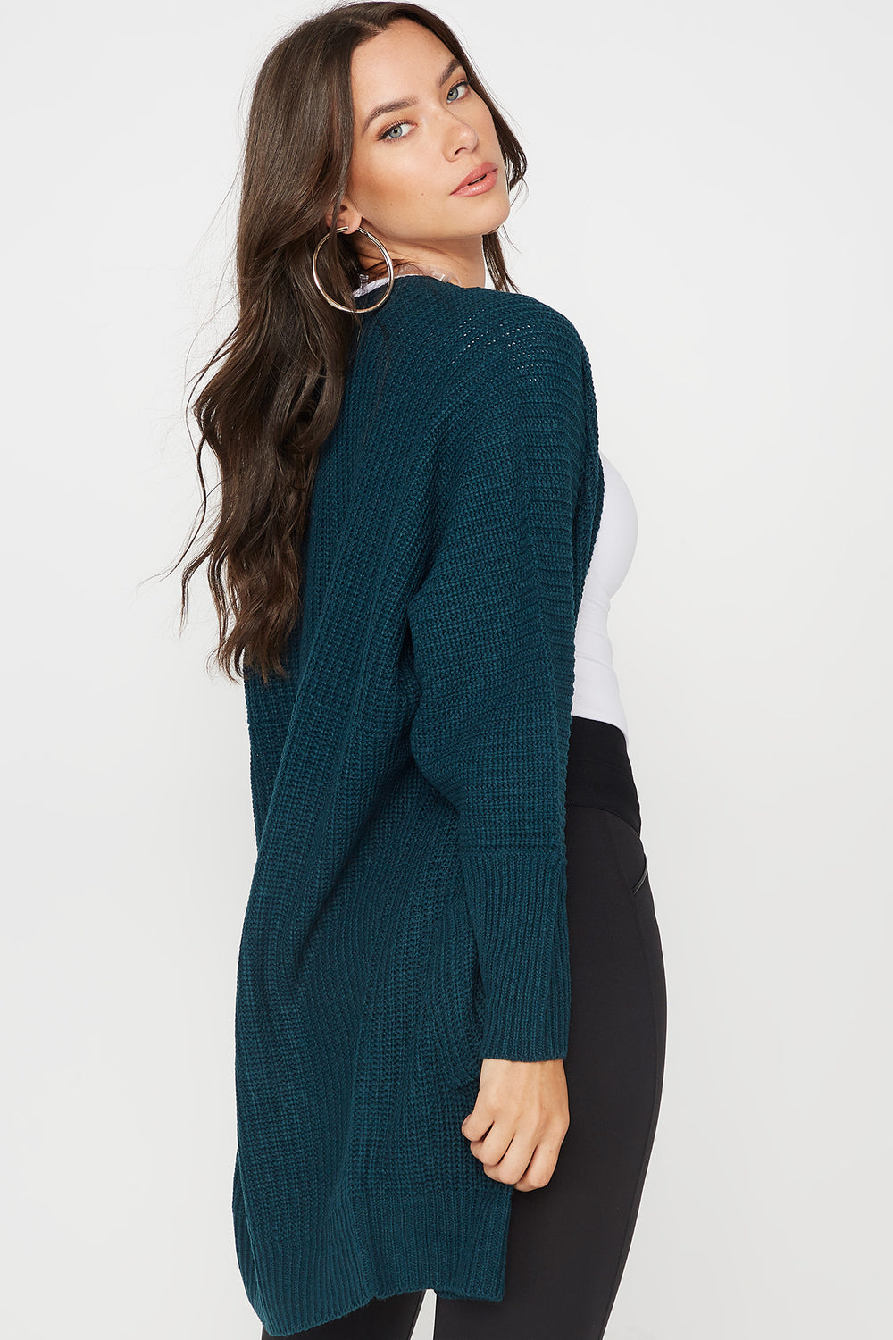 Knit Open Front Pocket Cardigan Teal