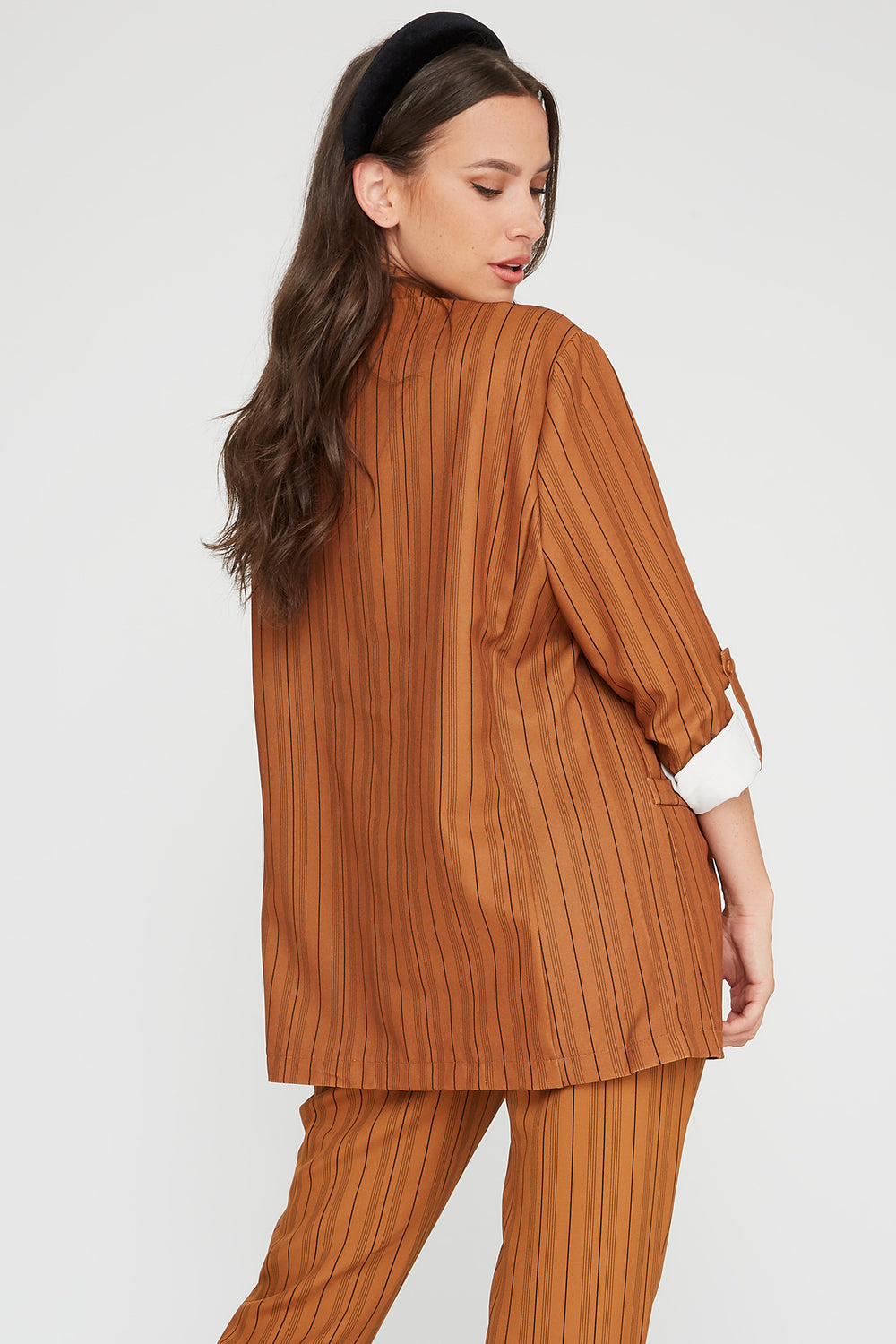 Striped Open Front Roll-Tab Blazer Camel