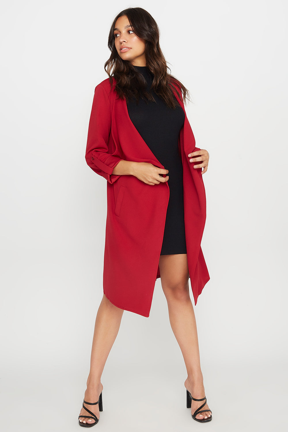 Open-Front Waterfall Jacket Dark Red