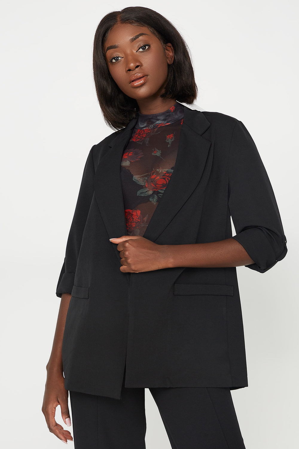 Open-Front Pocket Roll-Tab Long Sleeve Blazer Black