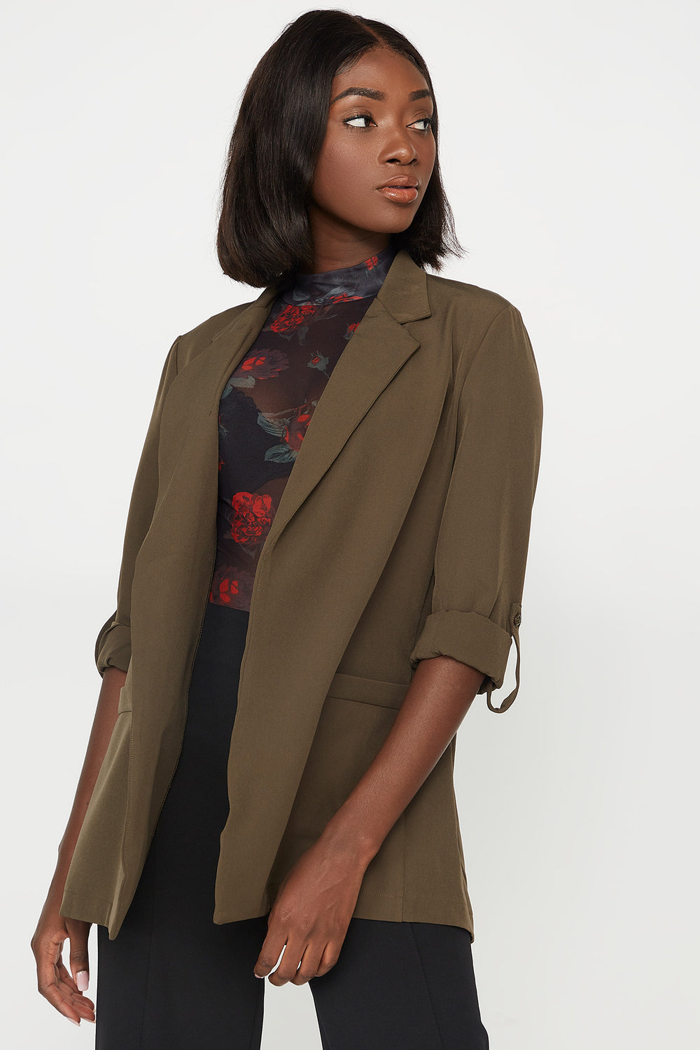 Open-Front Pocket Roll-Tab Long Sleeve Blazer Dark Green