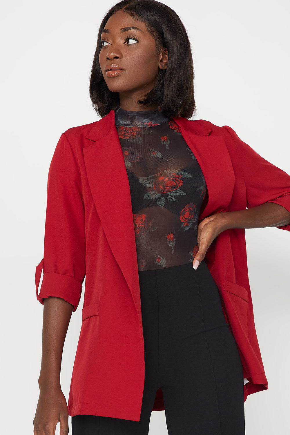 Open-Front Pocket Roll-Tab Long Sleeve Blazer Dark Red