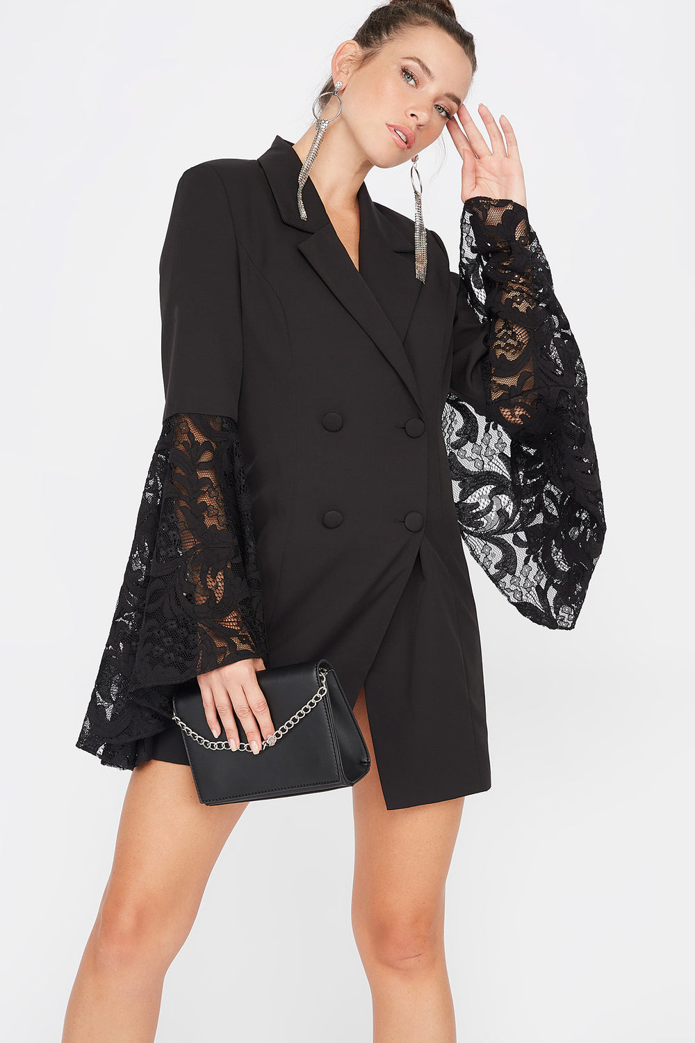 Lace Bell Sleeve Double Breasted Longline Blazer Black