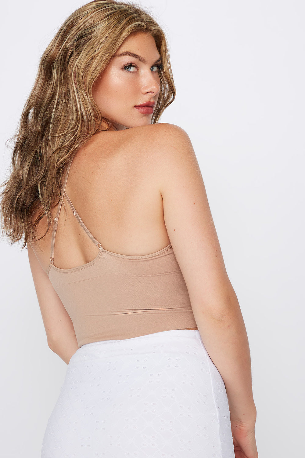 Seamless V-Neck Cropped Tank Taupe