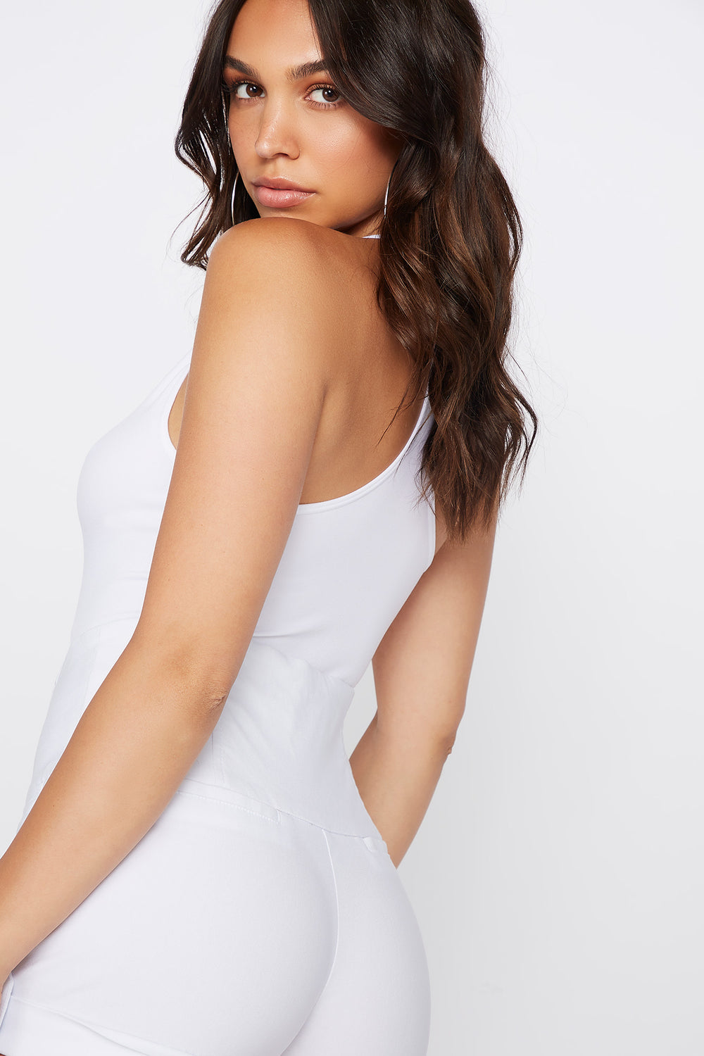 Seamless V-Neck Bodysuit Off White