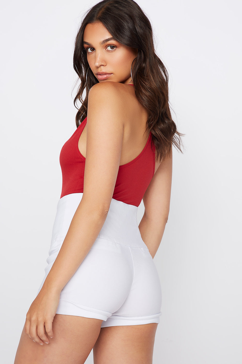 Seamless V-Neck Bodysuit Dark Red