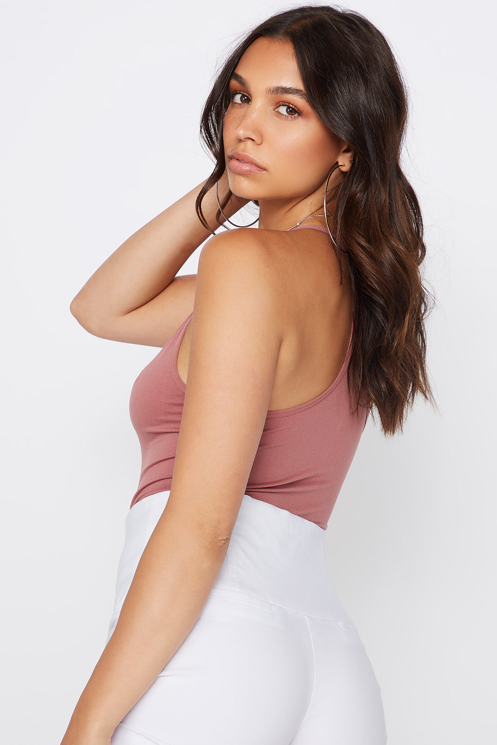 Seamless V-Neck Bodysuit Rose