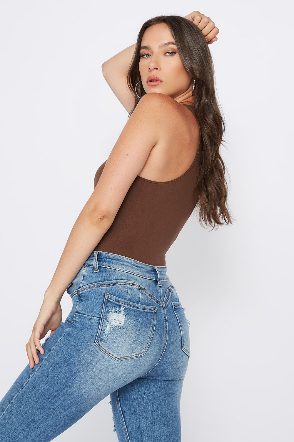 Seamless Racer Tank Bodysuit Brown