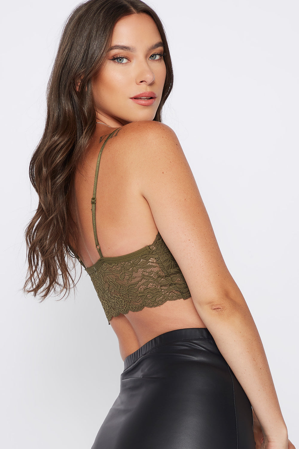 V-Neck Lace Scallop Bralette Dark Green